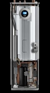 budowa pompy ciepła pompa ciepła kompaktowa z widocznym zbiornikiem ,cwu widoczną sprężarką i pompami obiegowymi