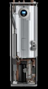 budowa pompy ciepła widoczne wnętrze pompy , zbiornik ciepłej wody użytkowej, sprężarka , grzałka, pompy obiegowe dolnego i górnego źródła, zawór trójdrogowy, zabezpieczeni sprężarki panel sterowania